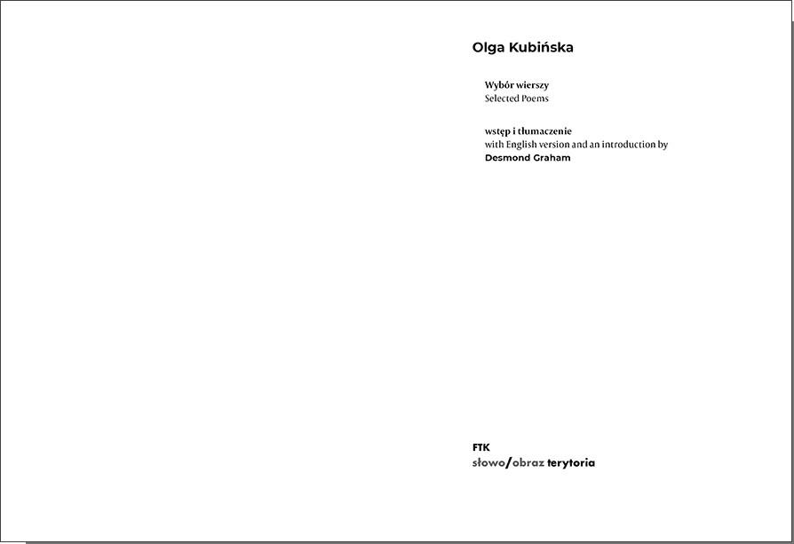Wybór wierszy / Selected Poems